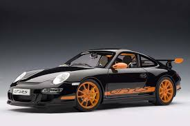 black porsche 911 gt3 autoart die cast model porsche 997 gt3 rs black with orange