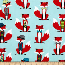 Fox Home Decor by Fox And The Houndstooth Foxes Aqua Discount Designer Fabric
