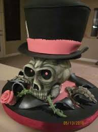 happy birthday tim black white skull cake