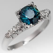 sapphire rings images Vintage teal sapphire ring 1950 39 s platinum diamond mount jpg