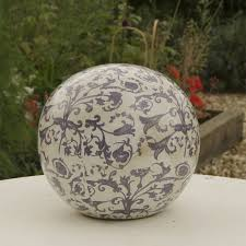 Garden Sphere Balls Blue And White Aged Ceramic Decorative Ball By The Orchard