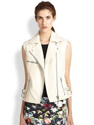 leather motorcycle vest mcq leather motorcycle vest in white lyst