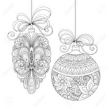 vector ornate monochrome christmas decorations patterned objects