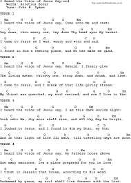 A Place Hymn Top 500 Hymn I Heard The Voice Of Jesus Say Lyrics Chords And Pdf
