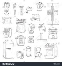 set cute hand drawn kitchen appliances stock vector 374416864