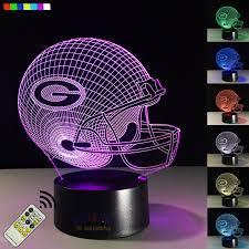 green bay packers lights nfl green bay packers 3d visual led night light football helmet