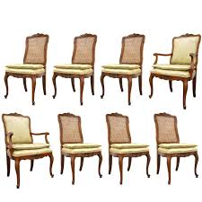 set of eight french country or louis xv style cherry dining chairs