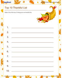 top 10 thankful list free thanksgiving worksheet for grade 2