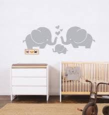 Wall Decals Baby Nursery Elephant Family With Hearts Wall Decals Baby Nursery Decor