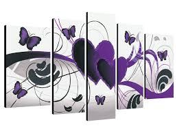 Paintings To Decorate Home Amazon Com Wieco Art Purple Love Butterfly 5 Panels Modern 100