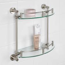 Brushed Nickel Bathroom Shelves by Bristow Tempered Glass Shelf Two Shelf Bathroom
