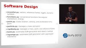 dynamics with sympy mechanics scipy 2013 presentation youtube