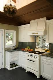 mirror backsplash kitchen rustic with astroturf antique stove
