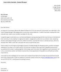 design manager cover letter example u2013 cover letters and cv examples
