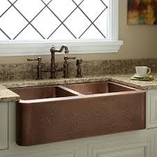 Kitchen Sink Copper 35 Bowl Hammered Copper Farmhouse Sink Kitchen