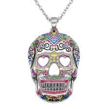 skull pendant necklace images Sugar skull pendant necklace heart eyes controse jpg