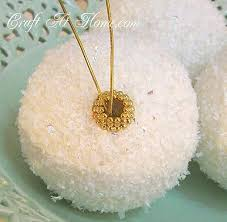 diy faux snowball ornaments craft at home