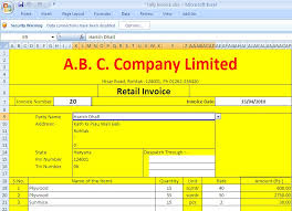 bank invoice format excel template