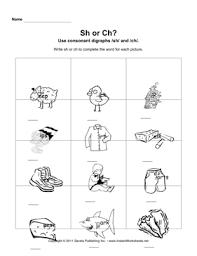 consonant digraphs sh ch u2014 instant worksheets