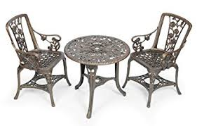 gablemere 2 seater plastic rose design patio set with round bistro