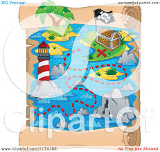 Treasure Map Clipart Cartoon Of A Vertical Parchment Treasure Map Of A Pirate Ship Near