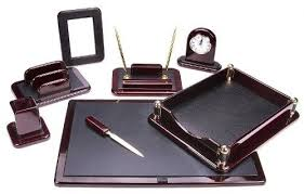 Desk Pen Holder Leather Desk Organizer Set Executive Home Office Tray Pen Holder