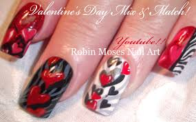5 valentine nail art designs red hearts u0026 zebra print nails