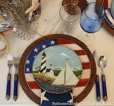 Nautical Themed Dinnerware Sets - 4th of july nautical table setting tablescape