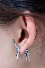 giraffe earrings metal jewelry split giraffe earring single online store