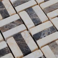 Marble Mosaic Floor Tile Tile Backsplash Kitchen Design Brown And Blend Mosaic