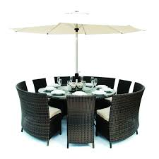 dallas rattan 9 seater round fan bench and chairs dining set u2013 the