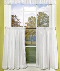 Thermal Cafe Curtains Tier Curtains Pointed Lace Edging Perma Press Tier Curtains