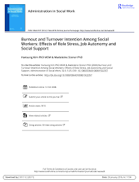 Youth Care Worker Job Description Burnout And Turnover Intention Among Social Workers Effects Of