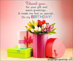thank you for your gift and warm greetings birthday thank you