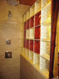 glass block bathroom ideas inside view of shower with custom glass block wall and decorative