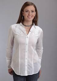 stetson women u0027s white cotton embroidered long sleeve western shirt
