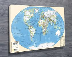 World Map Canvas Art by World Map Art Canvas Prints Australia