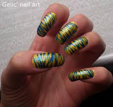 gelic u0027 nail art swedish yellow and blue tiger nail art