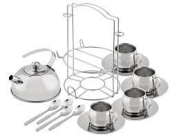 amazon tea amazon com kidzlane play tea set stainless steel with carry