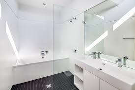 Designer Bathroom Tile Wonderful Modern White Tile Bathroom Example Of A Midsized Trendy
