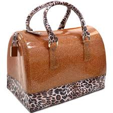 caramel brown jelly handbag purse glitter leopard print candy