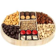 holiday 7 section nuts u0026 chocolate gift wooden tray christmas
