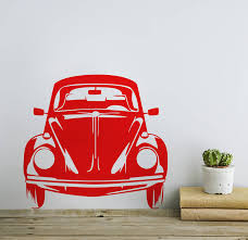 volkswagen beetle classic classic vw beetle front view vinyl wall sticker by oakdene designs