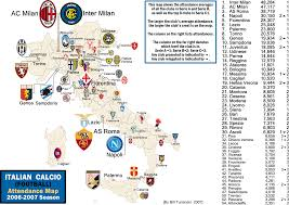 07 World Map by Italian Calcio Serie A And B Attendance Map 2006 07