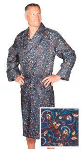 robe de chambre en robe de chambre en soie paisley bleu or homme