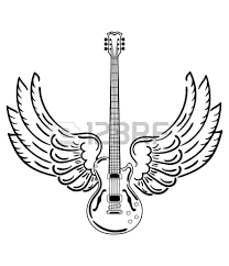 stylized acoustic guitar with wings in black and white