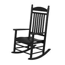 Outdoor Rocking Chairs For Heavy Shop Polywood Jefferson Black Plastic Patio Rocking Chair At Lowes Com