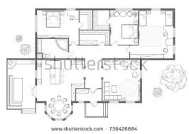 floor plan furniture top view architectural stock vector 725886112