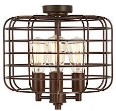 industrial ceiling fan light kit industrial cage oil rubbed bronze ceiling fan light kit amazon com