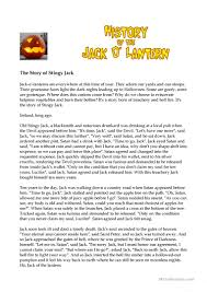 halloween the legend of stingy jack worksheet free esl